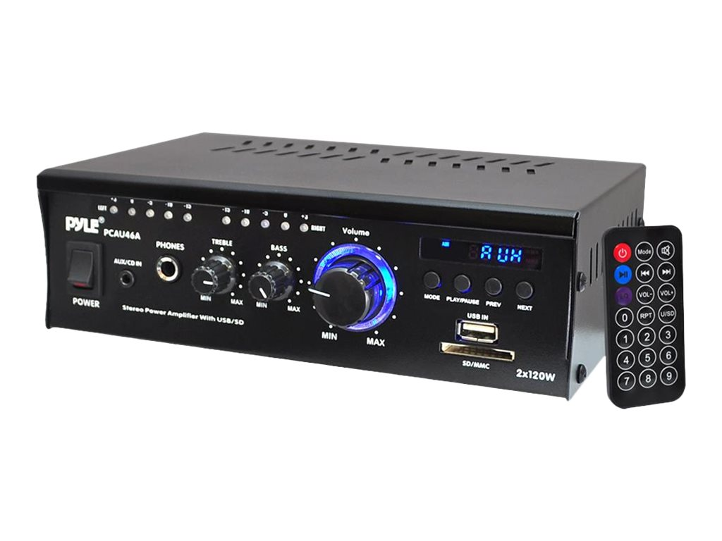 Pyle Mini 2x120 Watt Stereo Power Amplifier with USB SD Card Readers, AUX, CD Input, LED