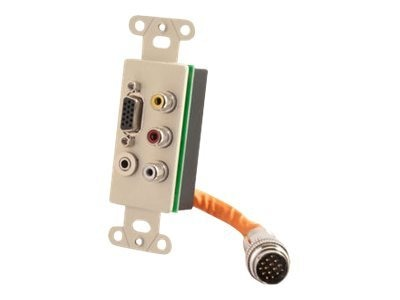 C2G RapidRun Decora Style Integrated VGA HD15 + 3.5mm + RCA Audio Video Wall Plate, Ivory, 60023, 15302319, Premise Wiring Equipment
