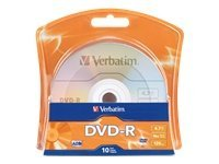 Verbatim 16x 4.7GB Branded DVD-R Media (10-pack), 96938, 11867988, DVD Media