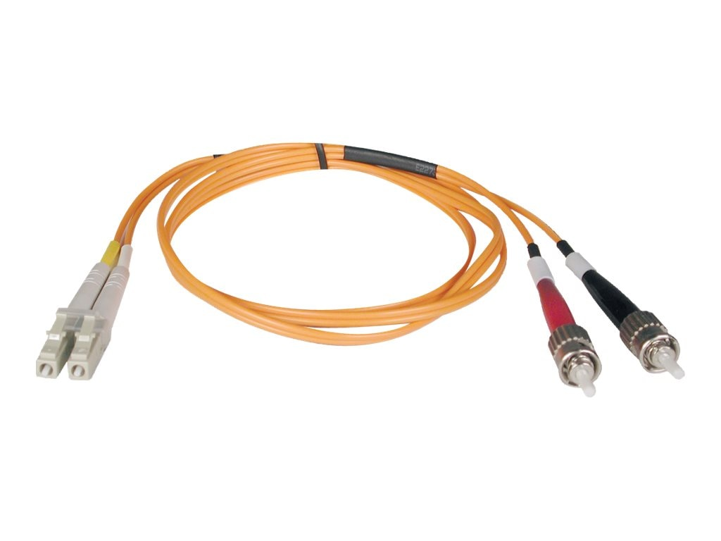Tripp Lite Fiber Optic Cable, LC-ST, 50 125, Duplex Multimode, 1m, N518-01M, 7370320, Cables