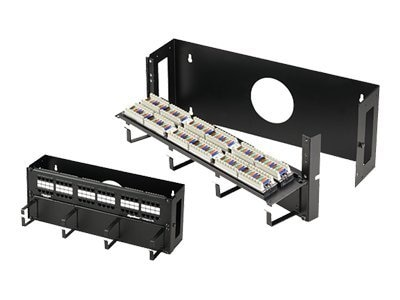 Black Box CAT5e Hinged Fold-Down Panel, 48-Port, 4U Wallmount, JPM201A-R2, 7404420, Patch Panels