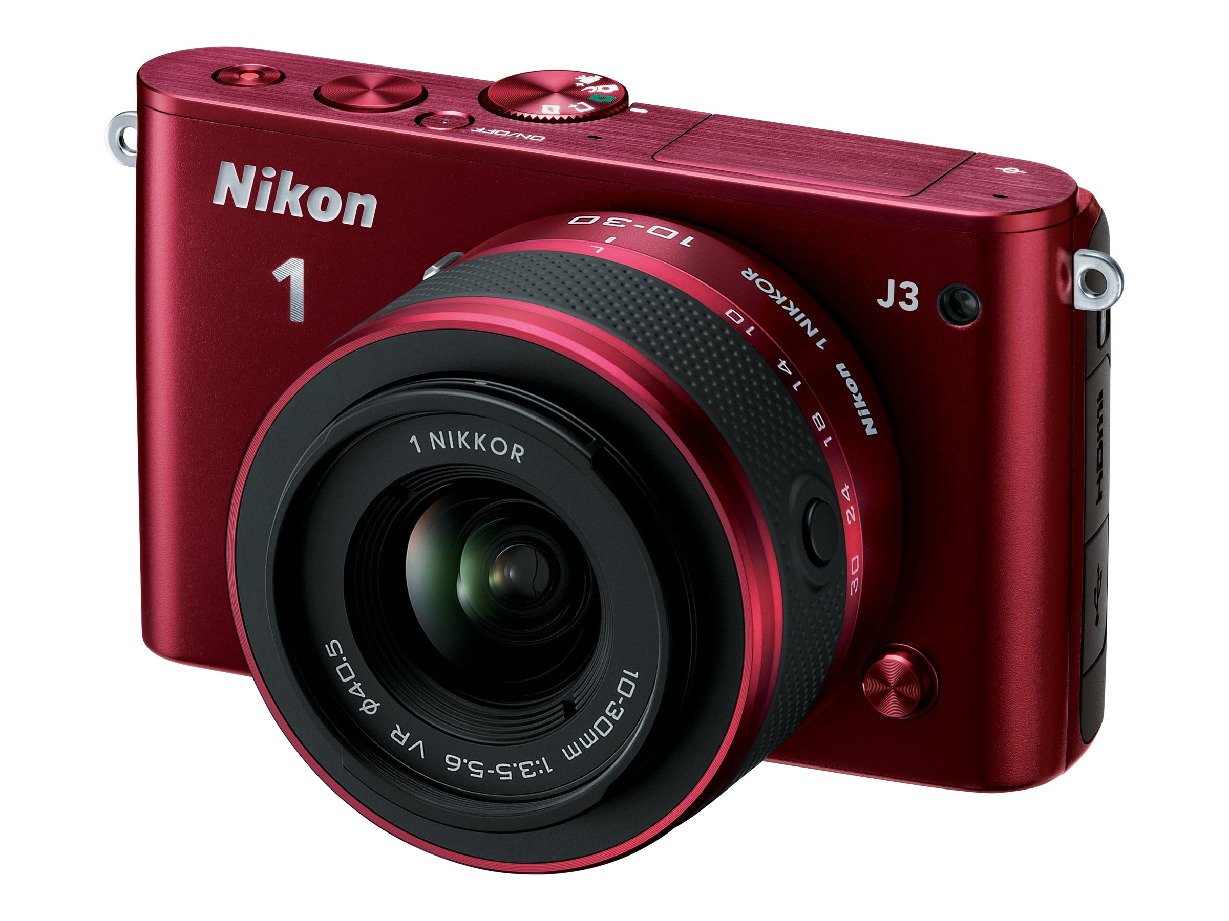 Nikon J3 Interchangable Lens Digital Camera, 14.2MP, Red with 10-30mm Lens, 27639