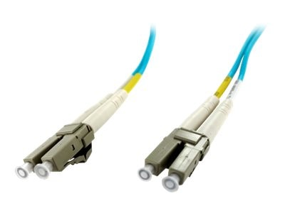Axiom LC-LC 50 125 OM4 Multimode Duplex Fiber Optic Cable, Aqua, 9m, TAA, AXG94384