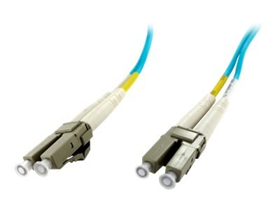 Axiom LC-LC 50 125 OM4 Multimode Duplex Fiber Optic Cable, Aqua, 9m, TAA