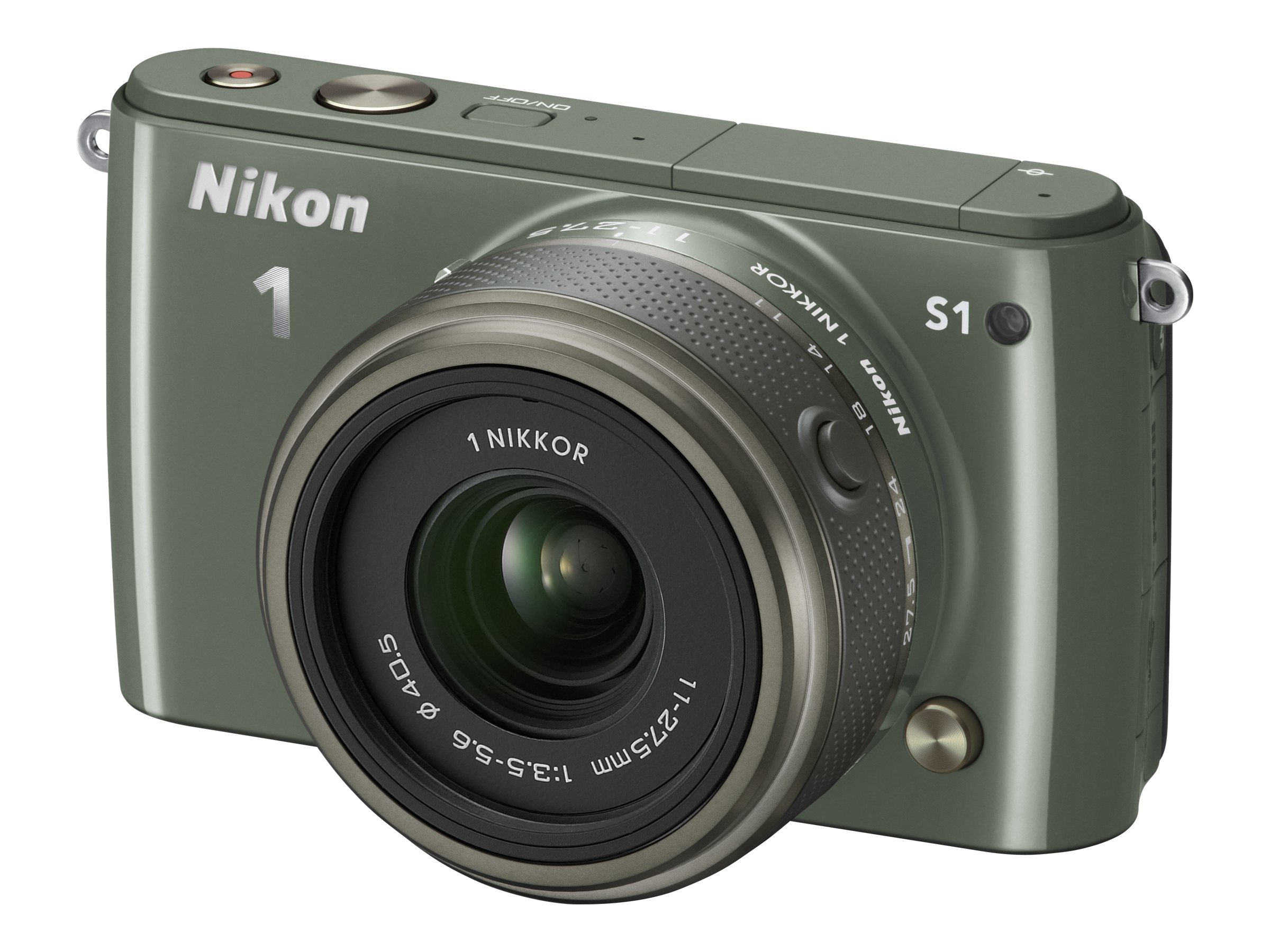 Nikon S1 Interchangable Lens Digital Camera, 10.1MP, Khaki with 11-27.5mm Lens, 27621, 15256586, Cameras - Digital - SLR