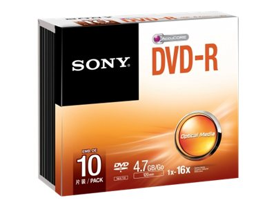 Sony DVD-R Media (10-pack Jewel Cases), 10DMR47SS, 15493231, DVD Media