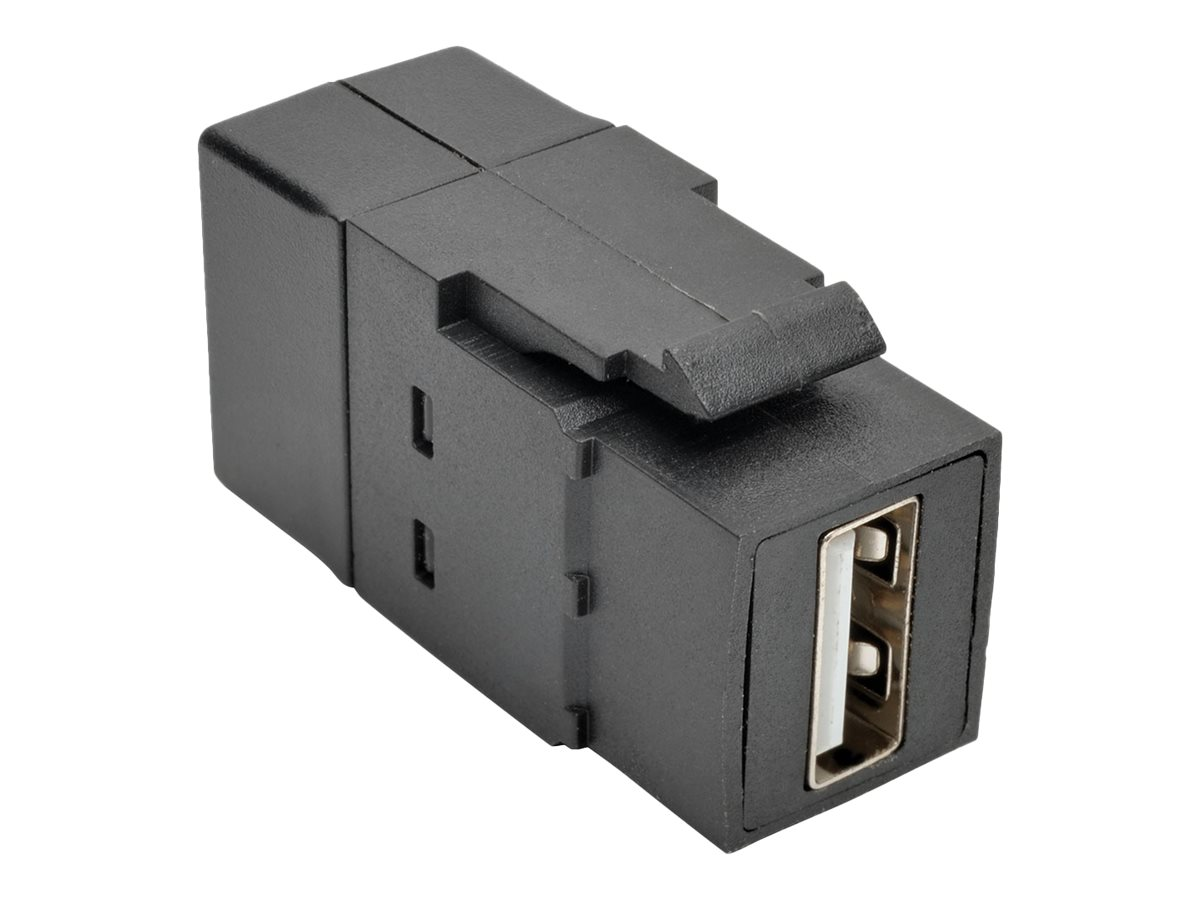 Tripp Lite USB 2.0 Type A F F All-in-One Keystone Panel Mount Coupler, Black, U060-000-KP-BK
