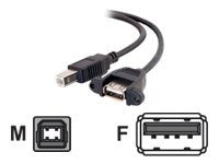 C2G USB 2.0 Panel Mount Cable, Type A (F) to Type B (M), Black, 6in