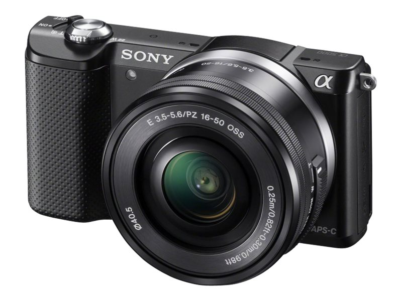 Sony Alpha A5000 Mirrorless Digital Camera with 16-50mm Lens, Black, ILCE5000L/B, 17563580, Cameras - Digital - SLR