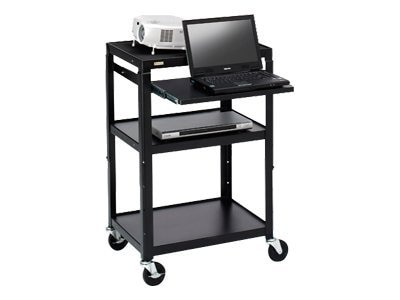 Bretford Manufacturing Adjustable AV Cart with Pull-Out Notebook Shelf, Black, A2642NS-P5, 9098905, Computer Carts
