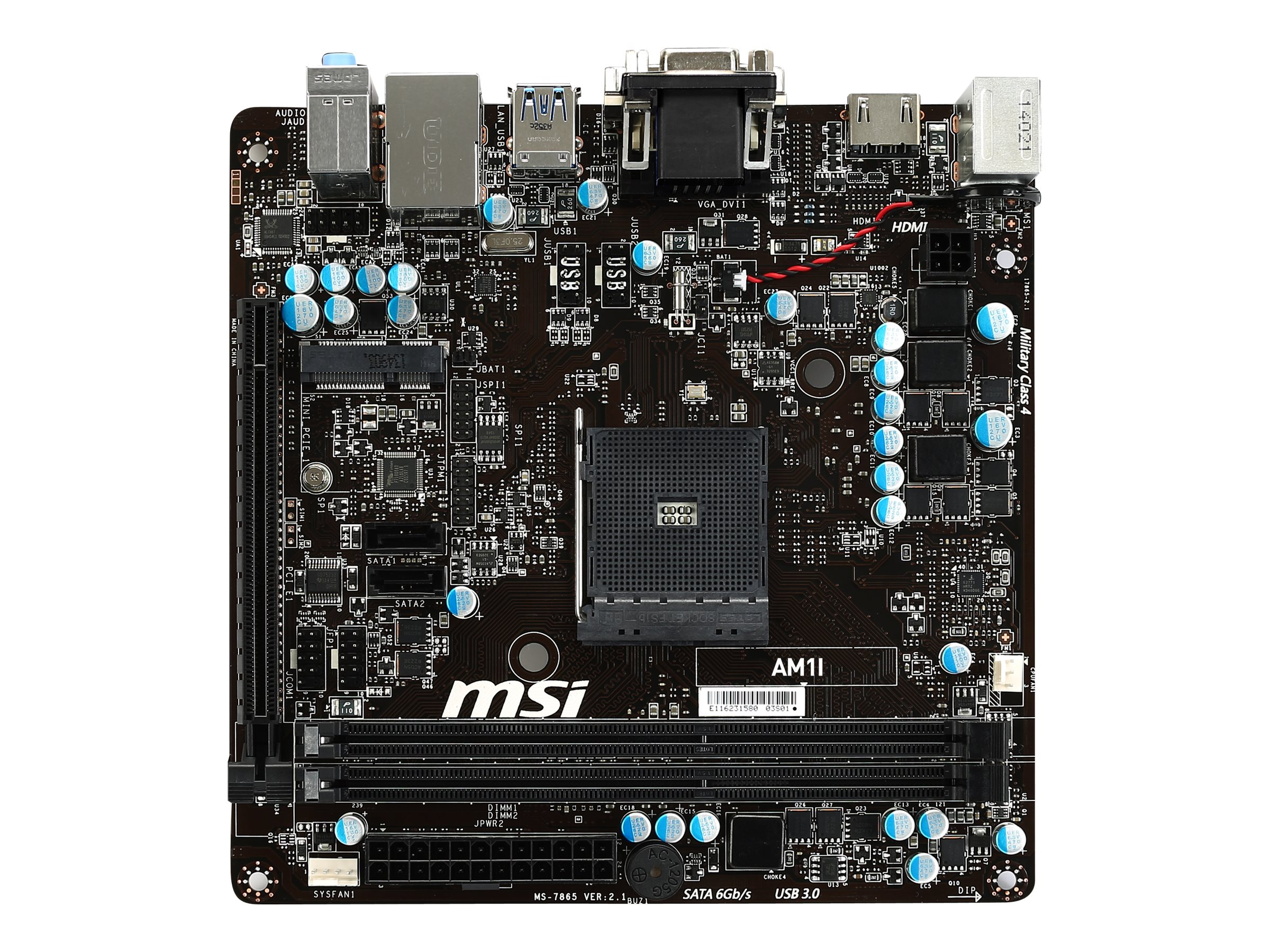 Microstar Motherboard, Mini-ITX AM1 Athlon Sempron Max.32GB DDR3 2xSATA PCIe GbE, AM1I, 17269621, Motherboards