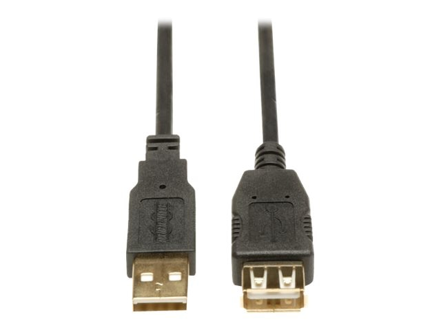 Tripp Lite USB 2.0 Gold Extension Cable, Type A (M) to Type A (F), 10ft, U024-010, 4902061, Cables