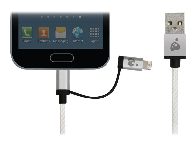 IOGEAR DuoLinq 2-in-1 USB to Micro USB Lightning Charge & Sync Cable, Silver, 1m, GUML01-SIL
