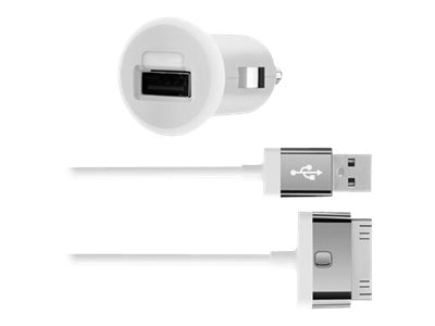 Belkin Car Charger, 30-Pin Charge Sync Cable, 10W 2.1A, White, F8J140BT04-WHT