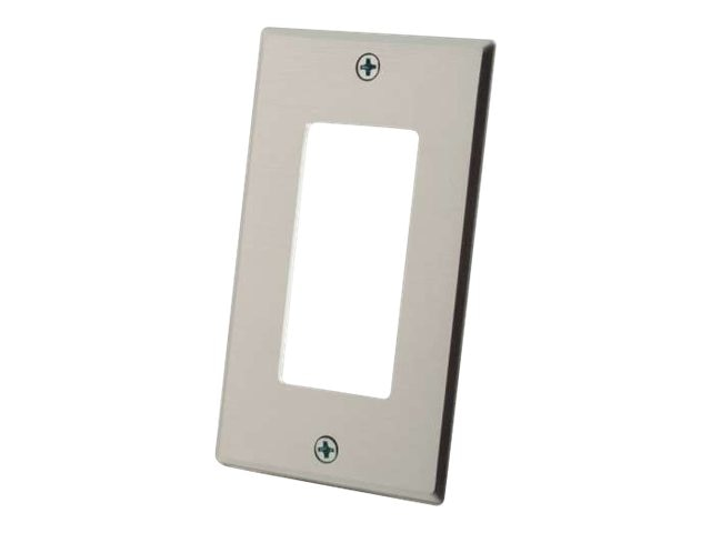 C2G Decora Compatible Cutout Single Gang Wall Plate, Aluminum