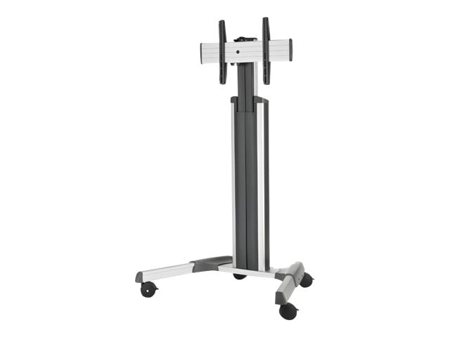 Chief Manufacturing Medium Fusion Manual Height Adjustable Mobile AV Cart for 37-55, Silver