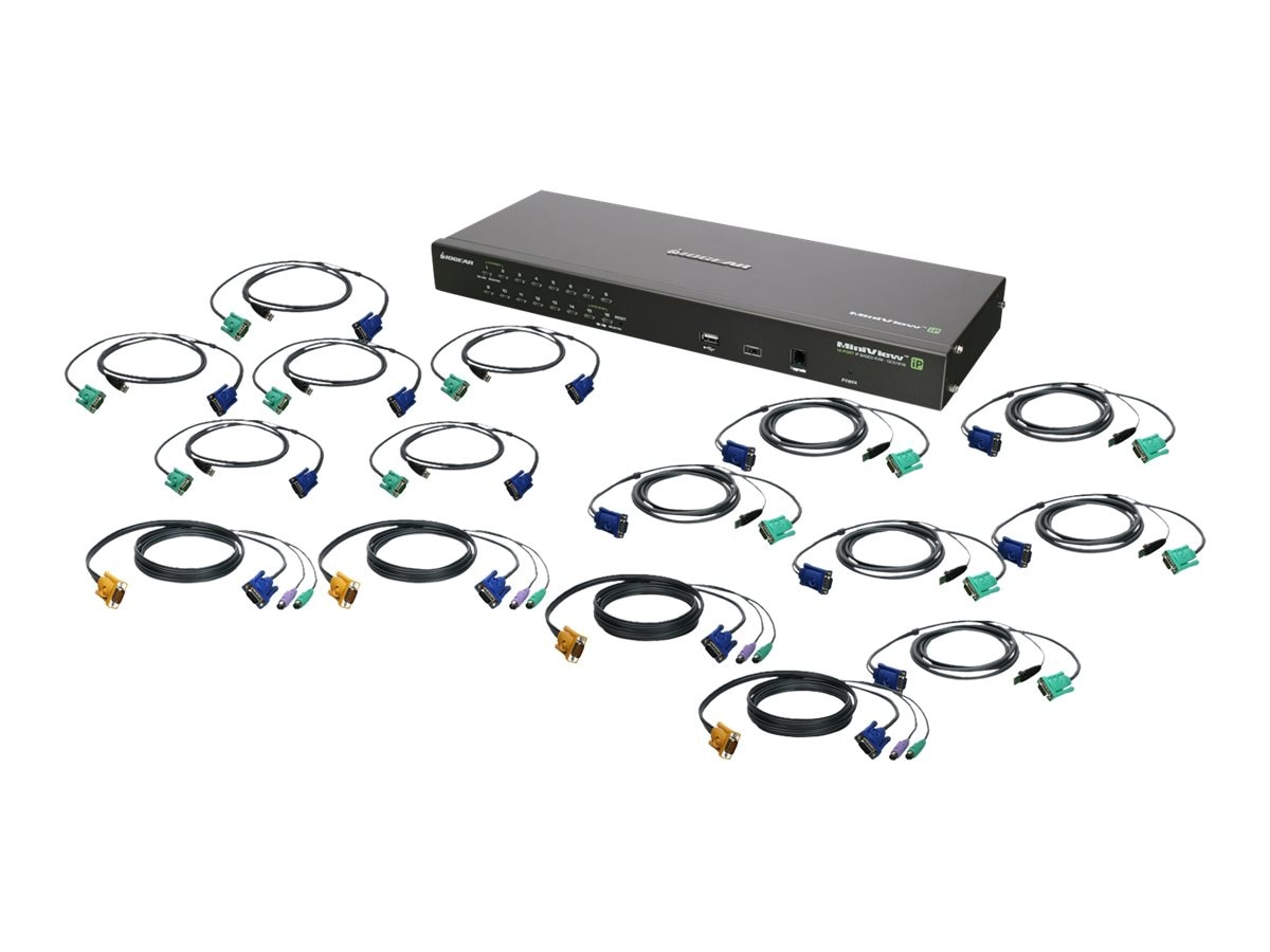 IOGEAR 16-Port IP Based KVM Kit, PS 2, USB, GCS1816IKIT