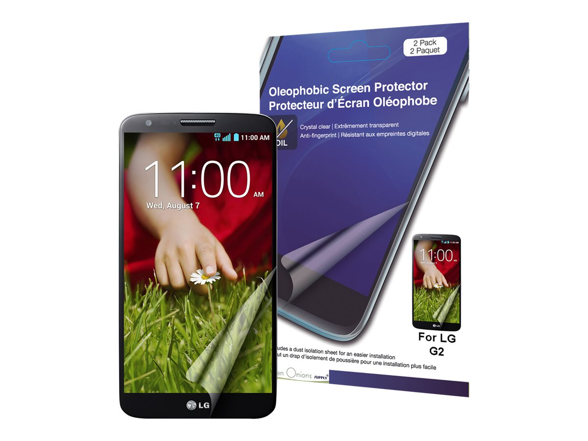 Green Onions Supply Oleophobic Screen Protector for LG G2 - 2 Pack, RT-SPLGG207, 16384150, Phone Accessories