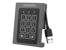 Apricorn 120GB Padlock USB FIPS Encrypted Ruggedized External Solid State Drive, ASSD-3PL256-120F, 16011880, Solid State Drives - External