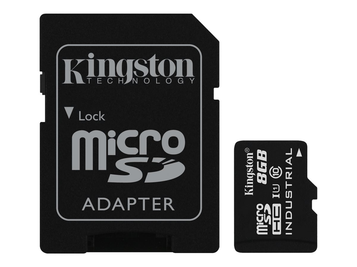 Kingston 8GB Industrial microSDHC UHS-I Flash Memory Card with SD Adapter, Class 10