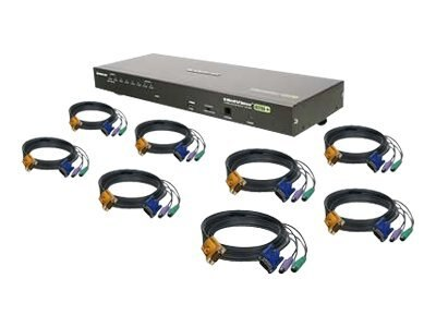 IOGEAR 8-Port VGA KVM Switch, PS 2, TAA Compliant, with (8) PS 2 Cables