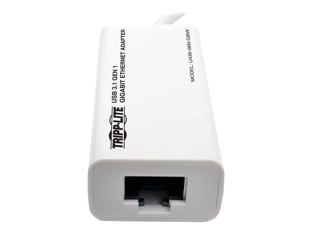 Tripp Lite USB 3.1 Gen 1 Type-C (USB-C) to Gigabit Ethernet NIC Network Adapter, White, U436-06N-GBW