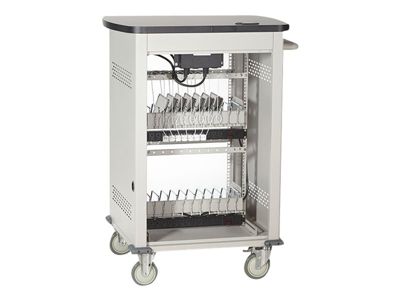 Black Box Adjustable-Shelf 36-Slot Charging Cart for Select Devices up to 7, UCCSS-12-36T
