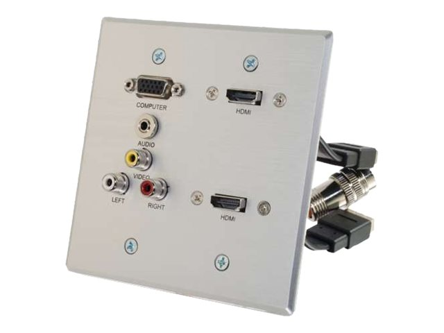 C2G RapidRun VGA, Stereo Audio, Composite Video, RCA Stereo Audio Double Gang Wall Plate