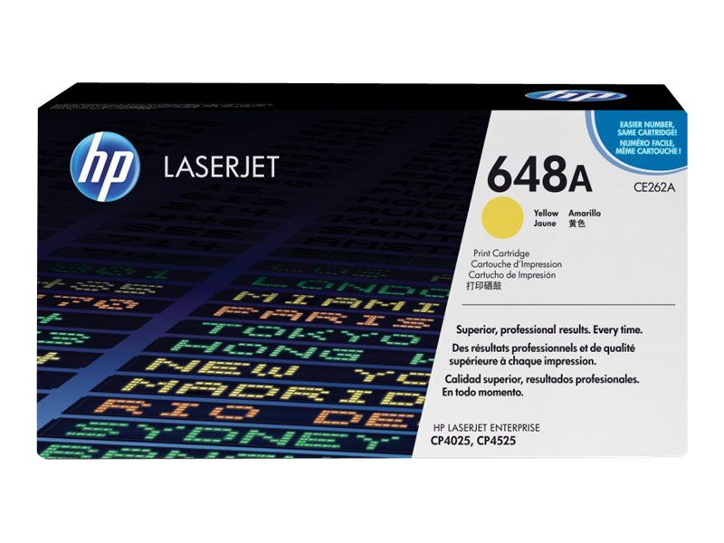 HP 648A (CE262A) Yellow Original LaserJet Toner Cartridge for HP Color LaserJet CP4025 & CP4525 Series, CE262A, 10457856, Toner and Imaging Components