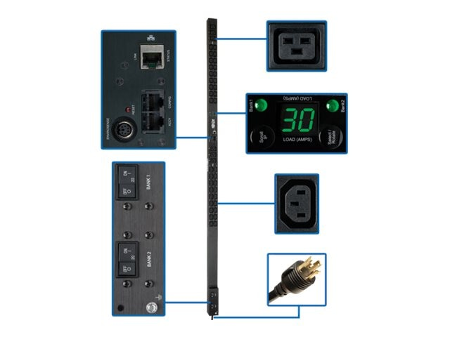 Tripp Lite Monitored Digital PDU 208 240V 30A 0U NEMA L6-30P 10ft Cord (36) C13 (6) C19 Outlets