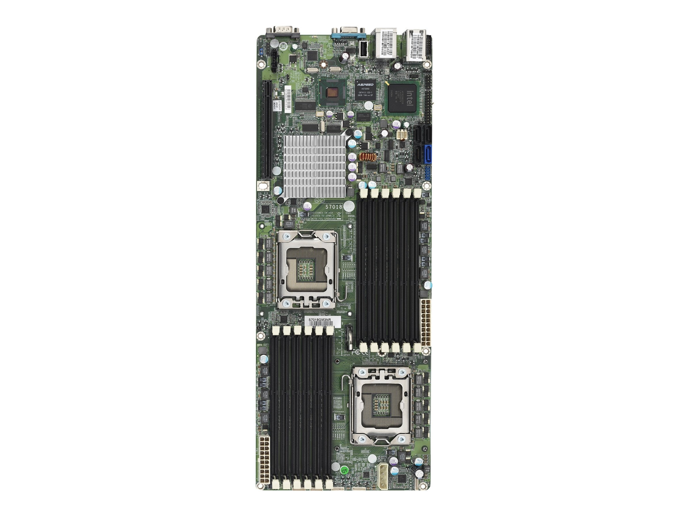 Tyan Motherboard, Intel 5500, Dual Xeon 5500, Proprietary, Max 96GB DDR3, PCIEX16, 3GBE, Video, SATA, S7018GM3NR