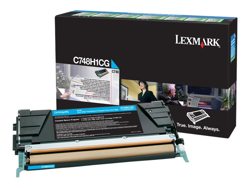 Lexmark Cyan High Yield Return Program Toner Cartridge for C748 Series Color Laser Printers, C748H1CG