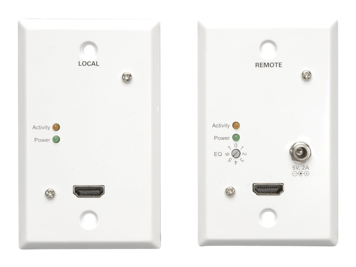 Tripp Lite HDMI M F over Dual Cat5 Cat6 Extender Wallplate for Video and Audio, 1080p at 60Hz