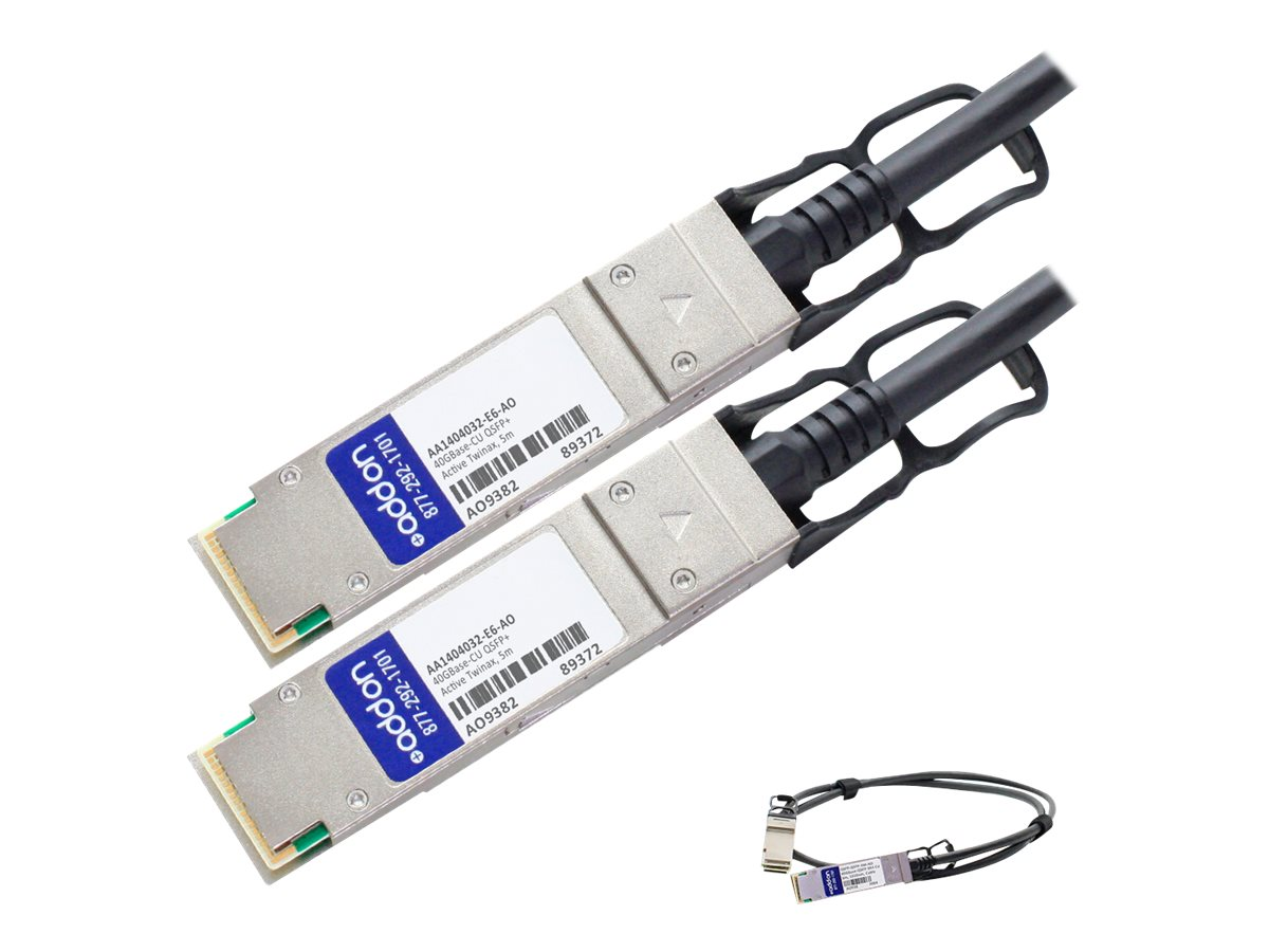 ACP-EP 40GBase-CU QSFP+ to QSFP+ Active Twinax Direct Attach Cable, 5m, AA1404032-E6-AO