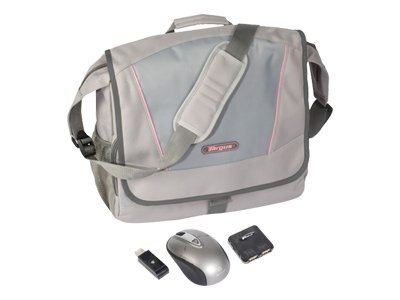 Targus Incognito Gray Pink Messenger Bundle, Mouse, Hub, BUS0160