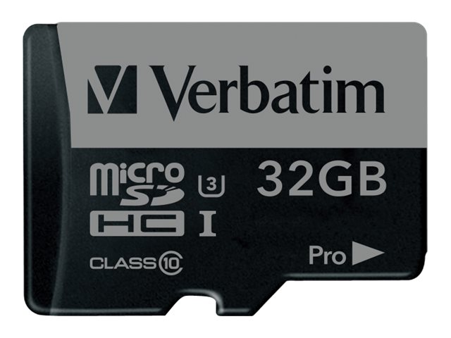 Verbatim 32GB Pro 600X UHS-I U3 microSDHC Memory Card with Adapter, Class 10, 47041