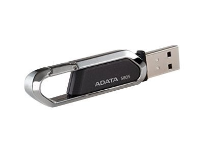 A-Data 8GB S805 Carabiner Keychain USB Flash Drive, Gray, AS805-8G-RGY, 15062888, Flash Drives