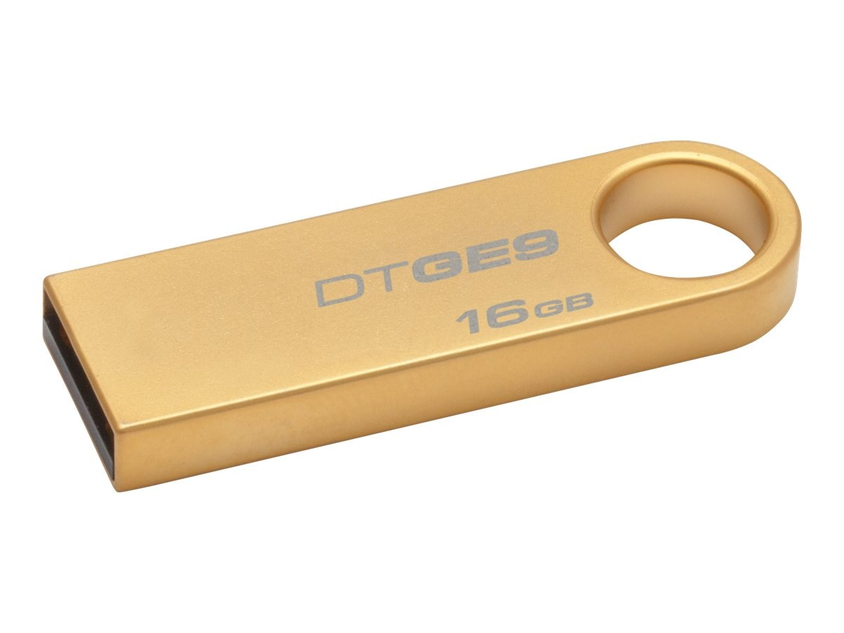 Kingston 16GB USB 2.0 DataTraveler GE9, Gold Metal Casing, DTGE9/16GBZ, 14777101, Flash Drives