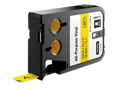 DYMO 12mm All-Purpose Vinyl - Black on Yellow, 1868771, 30631356, Paper, Labels & Other Print Media