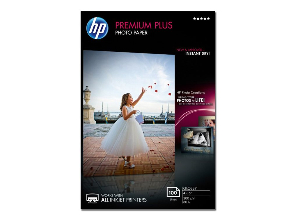 HP 4 x 6 Premium Plus Glossy Photo Paper (100 Sheets), CR668A