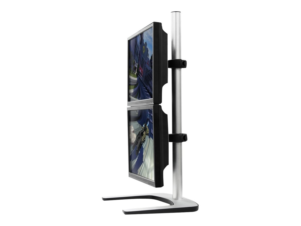 Atdec Visidec Freestanding Vertical Dual Monitor Display Mount, 12-24in Flat Panel, Silver