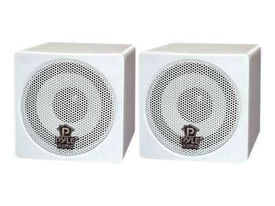 Pyle 3in 100W Mini Cube Speaker, White, PCB3WT
