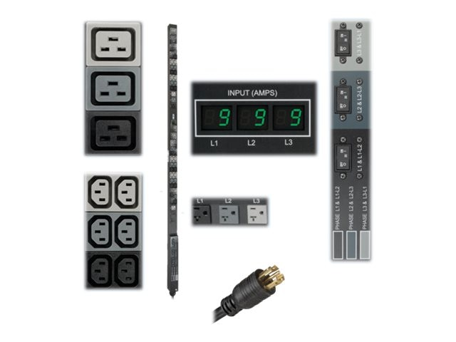Tripp Lite Metered PDU 8.6kW 208 120V 3-phase 30A 0U L21-30P 6ft Cord (36) C13 (6) C19 (6) 5-15 20R Outlets, PDU3MV6L2130, 14460850, Power Distribution Units