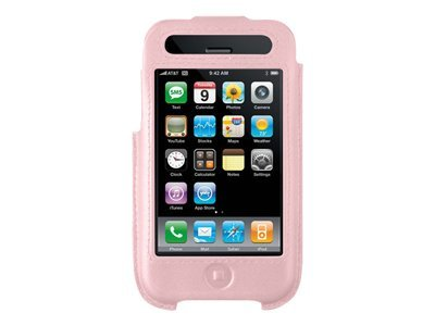 Belkin Formed Leather Case for iPhone, Pink Silver, F8Z338-PNK, 8824864, Carrying Cases - Phones/PDAs
