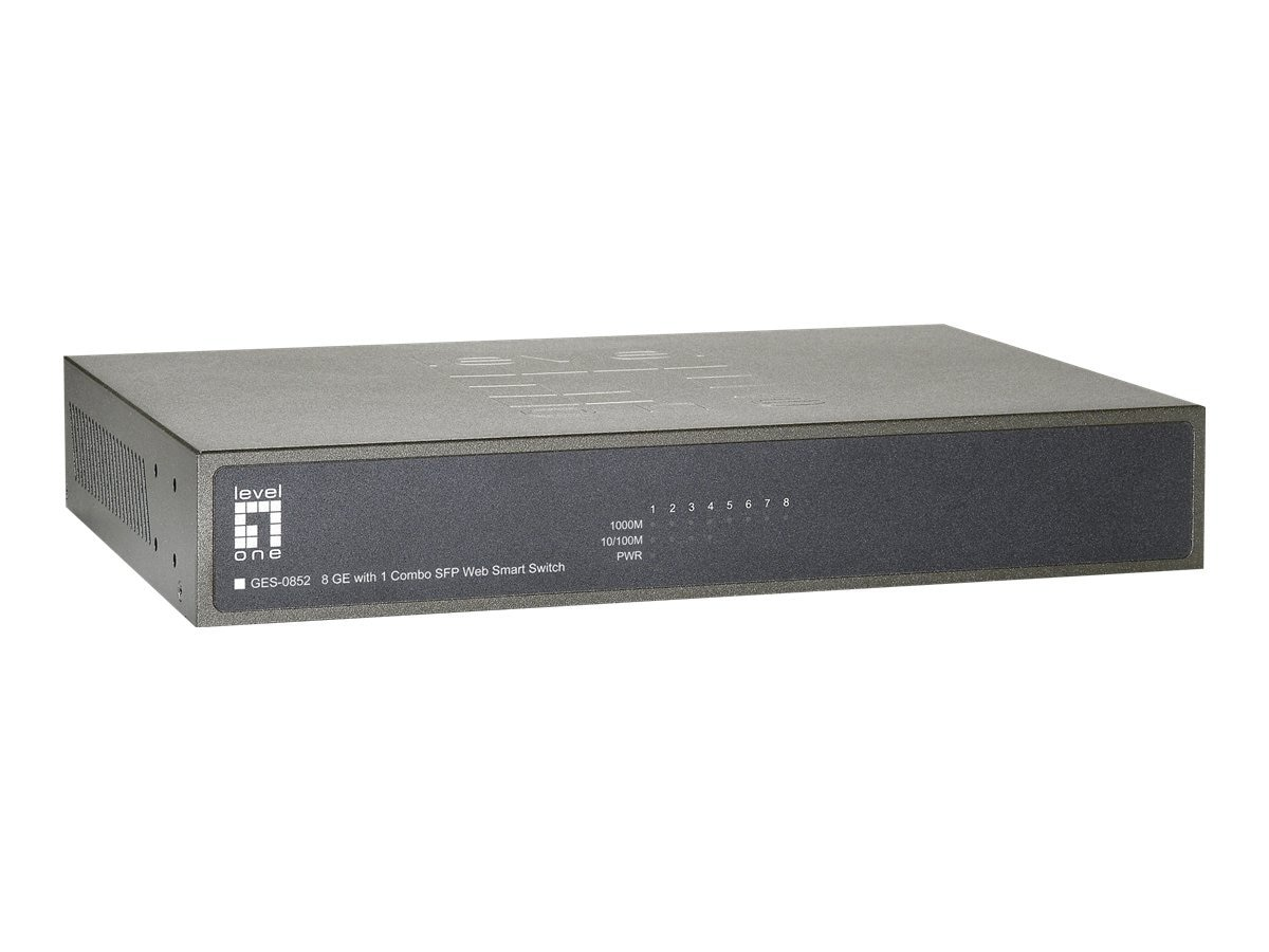 CP Technologies LevelOne 8-Port GES-0852 Web Smart Gigabit +2 Combo SFP Switch, GES-0852, 15394639, Network Switches