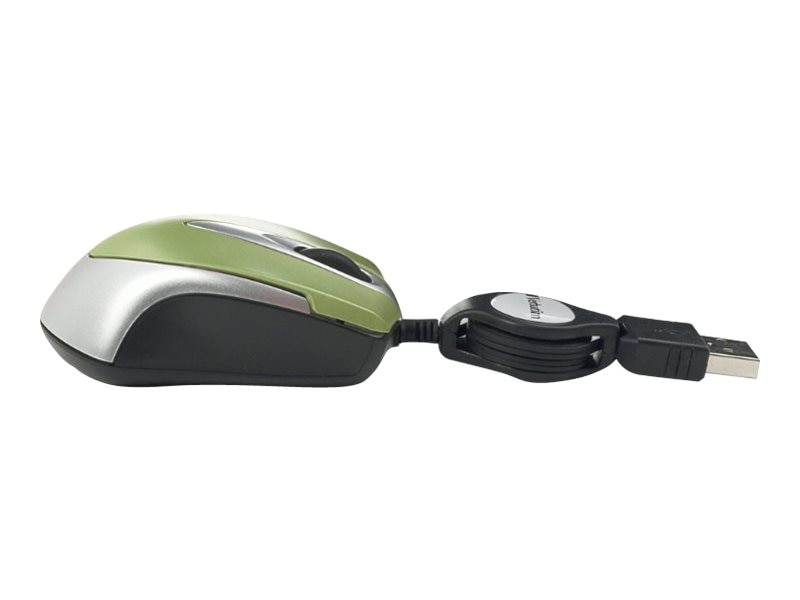 Verbatim Optical Mini Travel Mouse, Retractable Cord, Green, 97254, 17675573, Mice & Cursor Control Devices