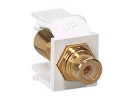 Leviton QuickPort RCA, Gold-Plated Connector with Black Stripe, White, 40830-BWE, 7929841, Cable Accessories