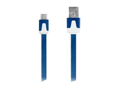 Mizco Flat MicroUSB Cable, Blue, 3ft