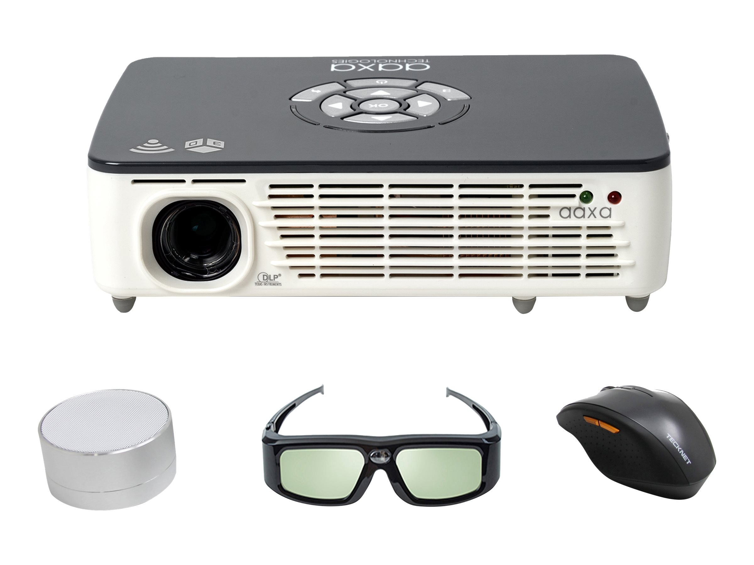 Aaxa P450 Pro WXGA 3D DLP Pico Projector with Speakers, 500 Lumens, White Gray