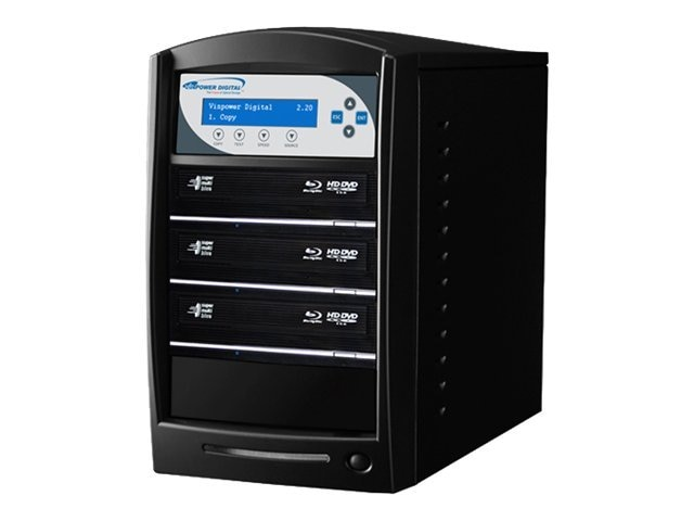Vinpower SharkBlu Blu-ray XL DVD CD USB 1:3 Tower Duplicator w  Hard Drive, SHARKBLU-S3T-XL-BK, 15129464, Disc Duplicators